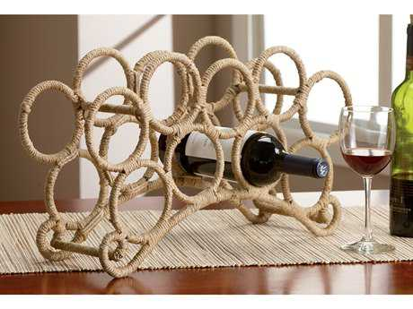 St Croix Kindwer Natural Nine Bottle Jute Rope Wrapped Wine Rack
