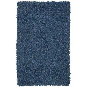 St. Croix Pelle Leather Shag Rectangular Blue Area Rug