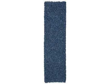 St. Croix Pelle Leather Shag Runner Blue Runner Rug
