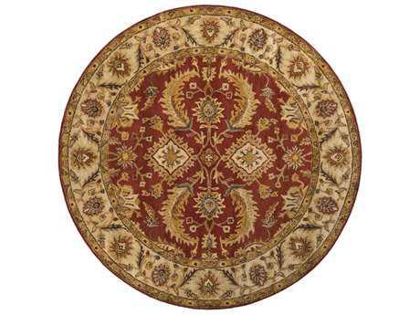 Surya Ancient Treasures 8' Round Dark Red, Khaki & Camel Area Rug