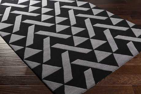 Surya Anagram Rectangular Black & Charcoal Area Rug