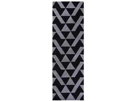 Surya Anagram Rectangular Black & Charcoal Runner Rug