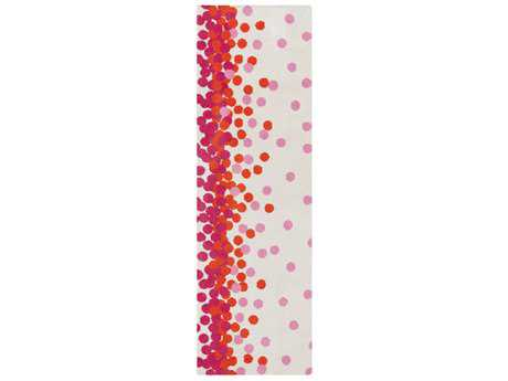 Surya Abigail 2'6'' x 8' Rectangular Bright Pink, Bright Orange & Cream Runner Rug