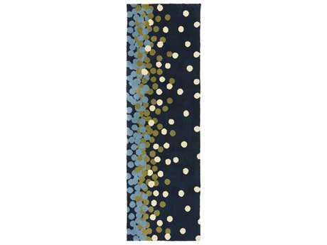 Surya Abigail 2'6'' x 8' Rectangular Navy, Pale Blue & Olive Runner Rug