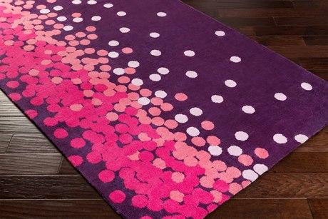 Surya Abigail Rectangular Dark Purple, Bright Pink & Pale Pink Area Rug