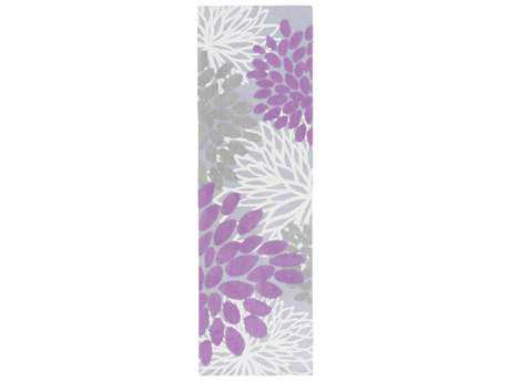 Surya Abigail 2'6'' x 8' Rectangular Bright Purple, Lavender & Medium Gray Runner Rug