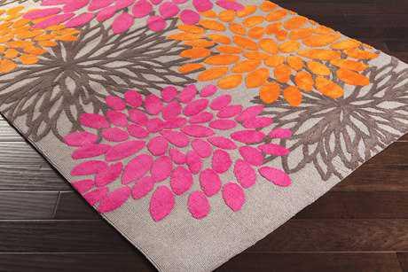 Surya Abigail Rectangular Bright Pink, Bright Orange & Light Gray Area Rug