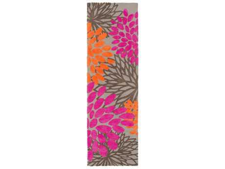 Surya Abigail 2'6'' x 8' Rectangular Bright Pink, Bright Orange & Light Gray Runner Rug