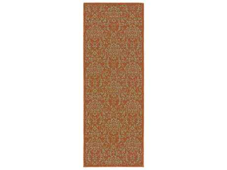 Surya Arabesque 2'7'' x 7'3'' Rectangular Camel, Olive & Dark Brown Runner Rug