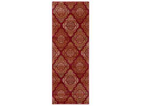 Surya Arabesque 2'7'' x 7'3'' Rectangular Garnet, Burnt Orange & Camel Runner Rug