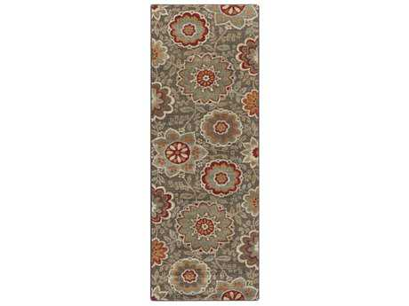 Surya Arabesque 2'7'' x 7'3'' Rectangular Camel, Garnet & Dark Green Runner Rug