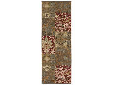 Surya Arabesque 2'7'' x 7'3'' Rectangular Garnet, Khaki & Dark Green Runner Rug