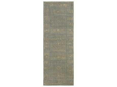 Surya Arabesque 2'7'' x 7'3'' Rectangular Charcoal & Olive Runner Rug
