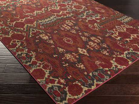 Surya Arabesque Rectangular Burgundy Area Rug