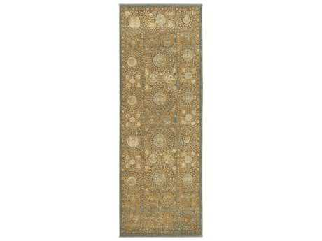 Surya Arabesque 2'7'' x 7'3'' Rectangular Beige Green & Charcoal Runner Rug