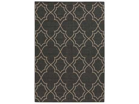 Surya Alfresco Rectangular Black & Camel Area Rug
