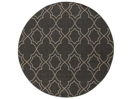Surya Alfresco Round Black & Camel Area Rug