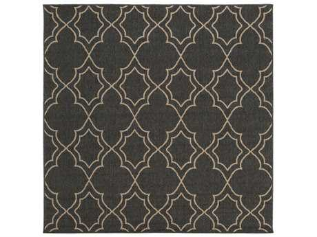 Surya Alfresco Square Black & Camel Area Rug