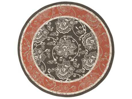 Surya Alfresco Round Black, Rust & Cream Area Rug