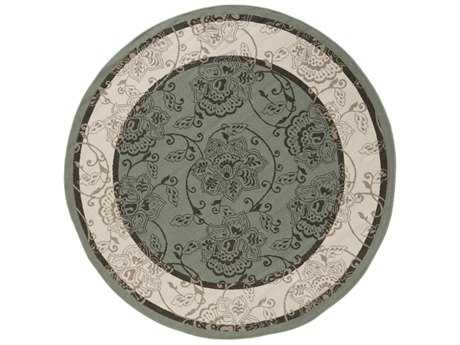 Surya Alfresco Round Sage, Khaki & Black Area Rug