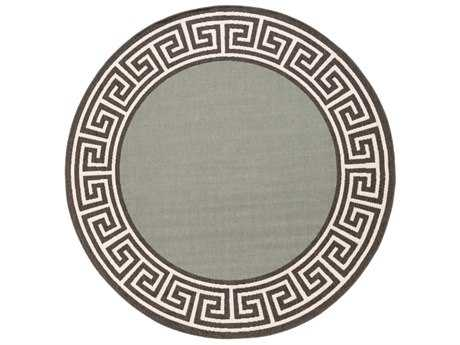 Surya Alfresco Round Sage, Black & Cream Area Rug