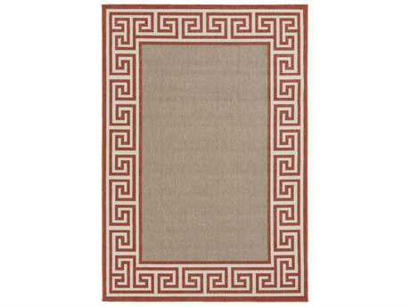 Surya Alfresco Rectangular Rust, Camel & Cream Area Rug
