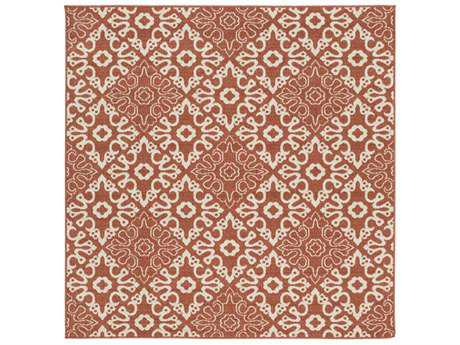 Surya Alfresco Square Rust & Cream Area Rug