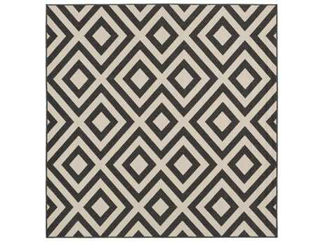 Surya Alfresco Square Black & Cream Area Rug