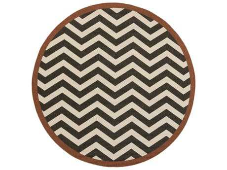Surya Alfresco Round Black & Cream Area Rug