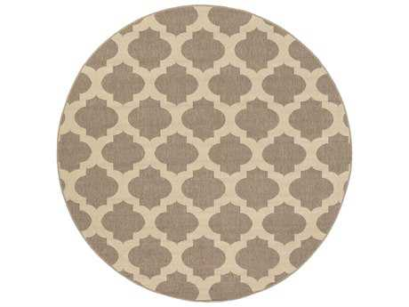 Surya Alfresco Round Camel & Cream Area Rug