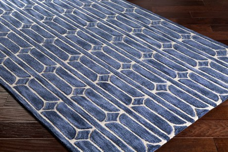 Surya Alexandra Rectangular Denim, Navy & Khaki Area Rug