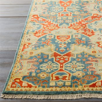Surya Antolya Rectangular Sky Blue, Burnt Orange & Wheat Area Rug