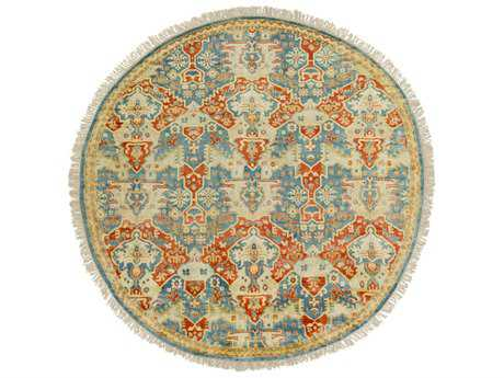 Surya Antolya Round Sky Blue, Burnt Orange & Wheat Area Rug