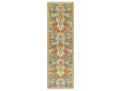 Surya Antolya 2'6'' x 8' Rectangular Sky Blue, Burnt Orange & Wheat Runner Rug