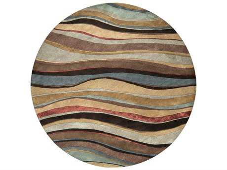 Surya Artist Studio 8' Round Dark Brown & Denim Area Rug