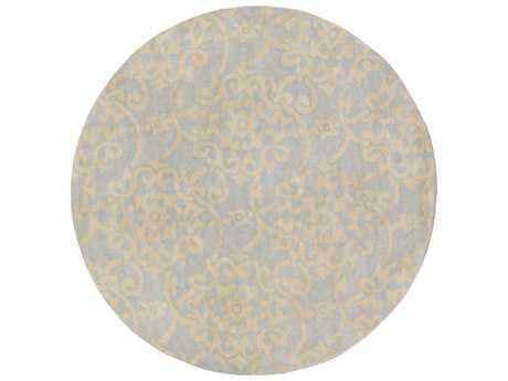 Surya Athena 8' Round Light Blue & Ivory Area Rug