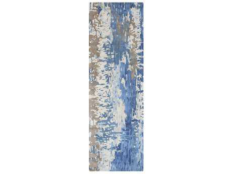 Surya Banshee 2'6'' x 8' Rectangular Dark Blue, Bright Blue & Cream Runner Rug