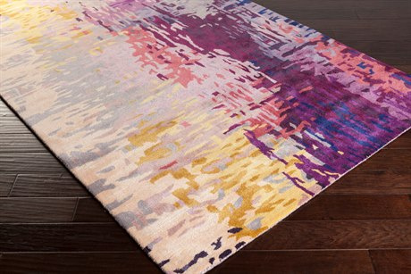 Surya Banshee Rectangular Dark Purple, Lime & Camel Area Rug