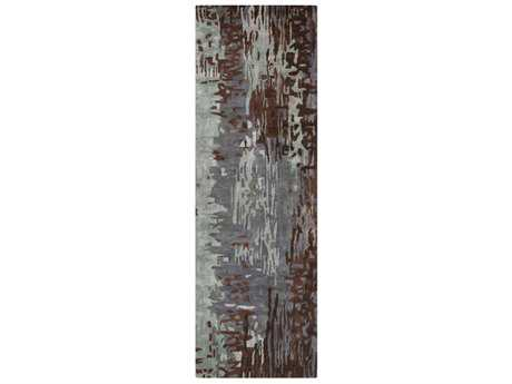 Surya Banshee 2'6'' x 8' Rectangular Denim, Dark Brown & Light Gray Runner Rug