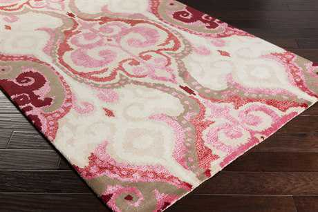 Surya Banshee Rectangular Bright Pink, Dark Red & Khaki Area Rug