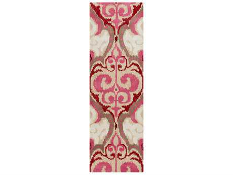 Surya Banshee 2'6'' x 8' Rectangular Bright Pink, Dark Red & Khaki Runner Rug