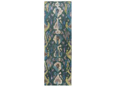 Surya Banshee 2'6'' x 8' Rectangular Teal, Dark Green & Olive Runner Rug