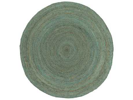 Surya Brice Round Mint, Dark Brown & White Area Rug