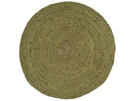 Surya Brice Round Dark Green & Khaki Area Rug