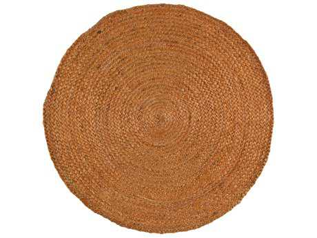 Surya Brice Round Bright Orange & White Area Rug