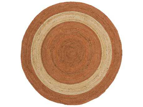 Surya Brice Round Bright Orange, Khaki & Tan Area Rug