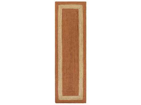 Surya Brice Rectangular Bright Orange, Khaki & Tan Runner Rug