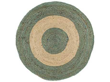 Surya Brice Round Teal & Cream Area Rug
