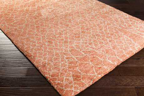 Surya Bjorn Rectangular Bright Orange, Khaki & Dark Brown Area Rug