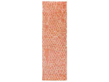 Surya Bjorn 2'6'' x 8' Rectangular Bright Orange, Khaki & Dark Brown Runner Rug